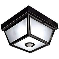 Outdoor Ceiling Motion Sensor Light: Benson Black 9 1/2