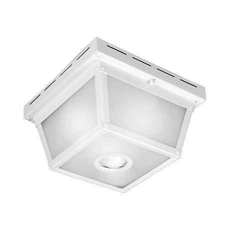 "Square White 9 1/2"" Wide Motion Sensor Outdoor Ceiling Light"