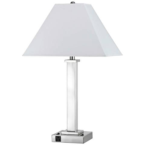 Rio Brushed Steel Column Table Lamp