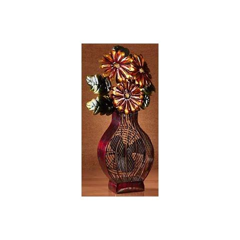 Deco Decorative Painted Finish Flower Vase Fan
