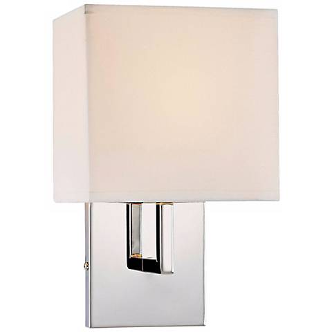 George kovacs fabric shade chrome 11 1 2 high wall sconce for Chrome bathroom sconce with shade