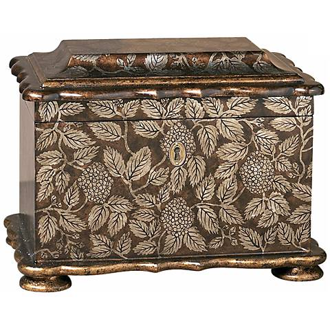 Painted Leaf Wood Accent Box