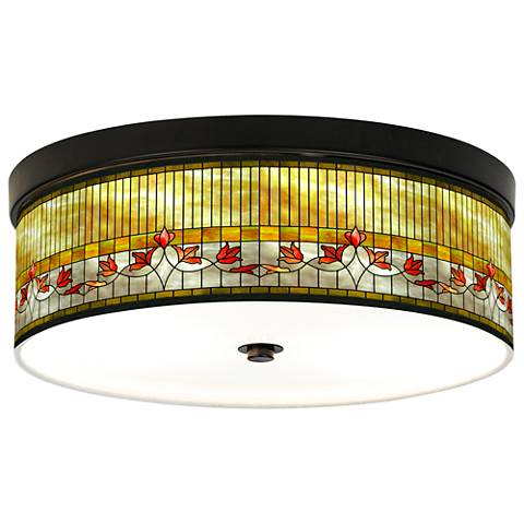 Tiffany Lily Giclee Energy Efficient Bronze Ceiling Light