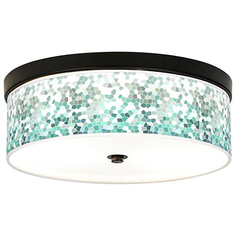 Aqua Mosaic Giclee Energy Efficient Bronze Ceiling Light
