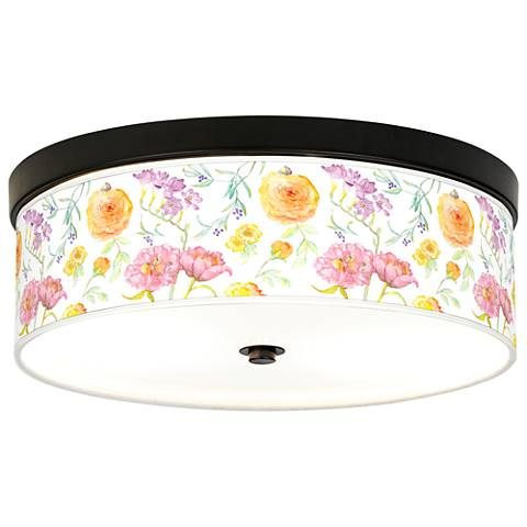 Spring Garden Giclee Energy Efficient Bronze Ceiling Light