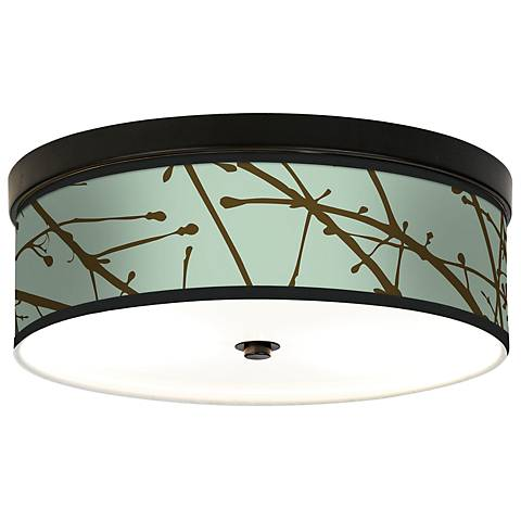 Calligraphy Tree Ice Giclee Bronze CFL Ceiling Light