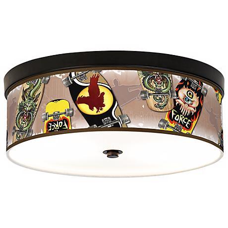 Skateboard Mania Giclee Bronze CFL Ceiling Light