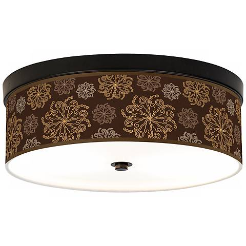 Chocolate Blossom Linen Giclee Energy Efficient Ceiling Light