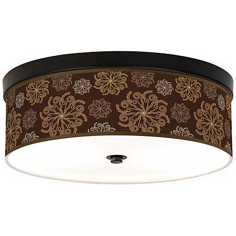 Chocolate Blossom Linen Giclee Energy Efficient Ceiling Light