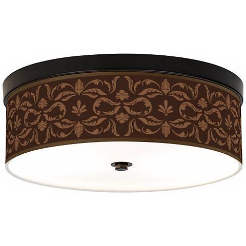 Mocha Flourish Linen Giclee Energy Efficient Ceiling Light