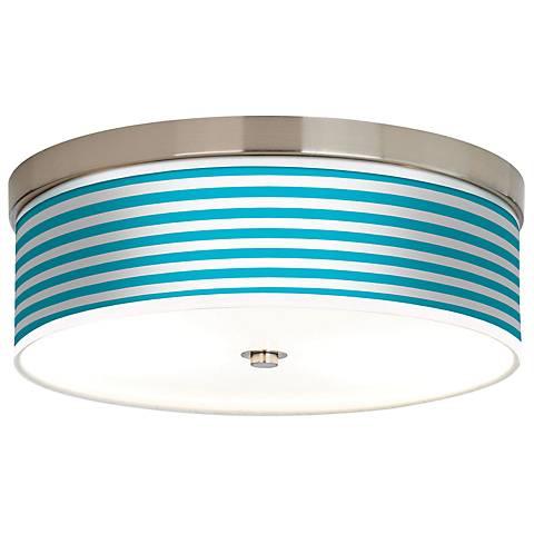 Aqua Horizontal Stripe Giclee Energy Efficient Ceiling Light
