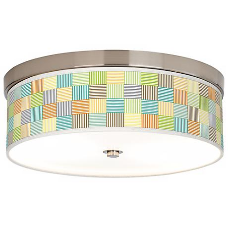 Pixel Light Giclee Nickel CFL Flushmount Ceiling Light