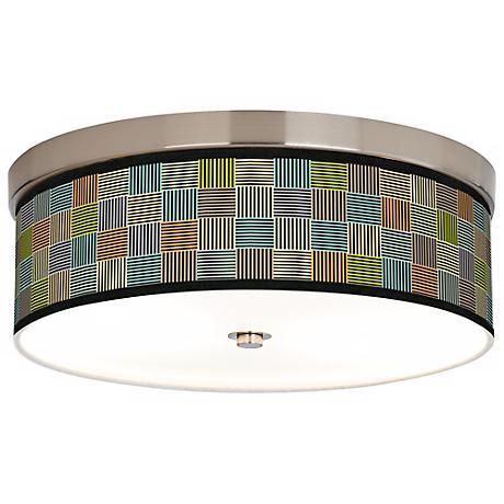 Pixel City Giclee Nickel CFL Flushmount Ceiling Light