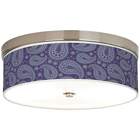 Purple Paisley Linen Giclee Energy Efficient Ceiling Light