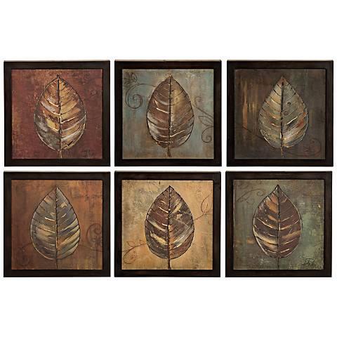 Uttermost Set of Six New Leaf Panels I & II Framed Wall Art