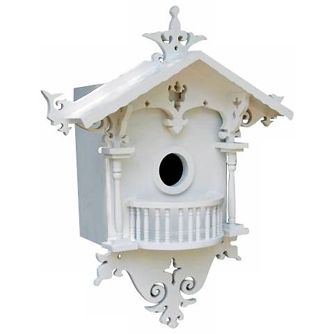 Ornate White Cottage Bird House