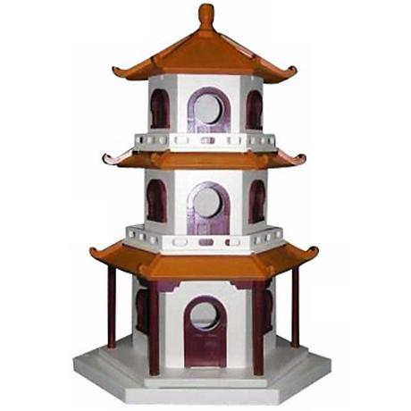 Three tiered pagoda bird house h9575 lamps plus for Pagoda house plans