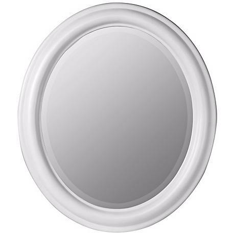 White Finish Simple Oval Wall Mirror
