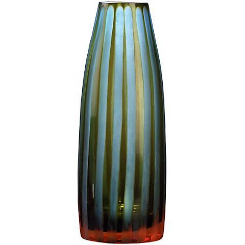 "Cyan and Orange 10 1/2"" High Art Glass Vase"