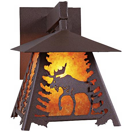 """Smoky Mountain Moose 11 1/2"""" High Mica Outdoor Wall Light"""