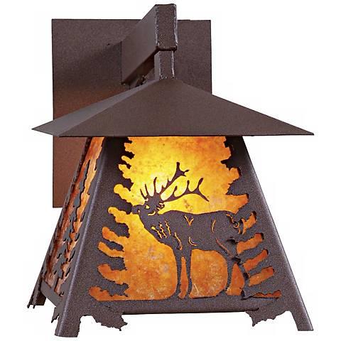 "Smoky Mountain Elk 12"" High Outdoor Wall Light"