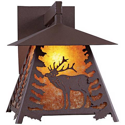 "Smoky Mountain Elk 14"" High Outdoor Wall Light"