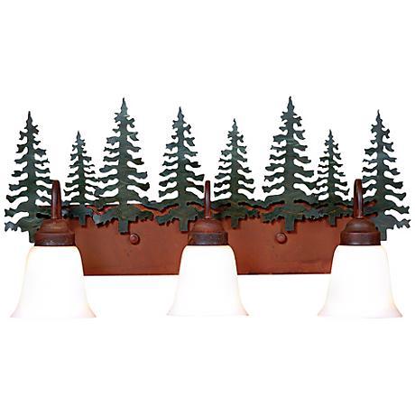 """Wasatch Collection Cedar 26"""" Wide Bathroom Light Fixture"""