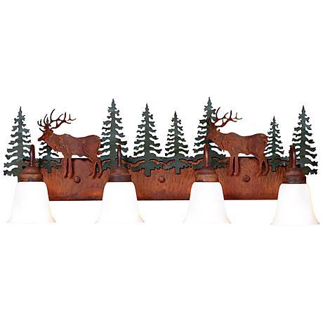 """Wasatch Collection Elk 36"""" Wide Bathroom Light Fixture"""