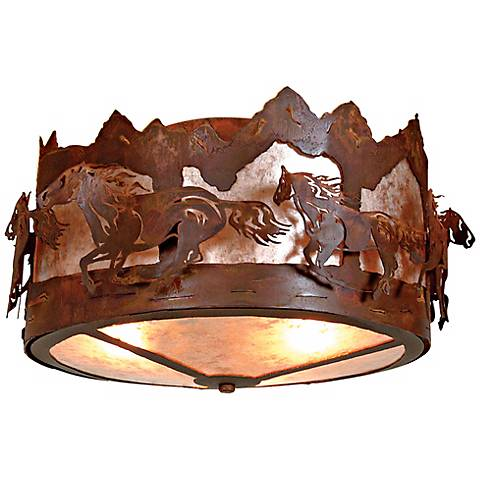 """Logen Collection Horse Mountain 17"""" Wide Ceiling Light"""