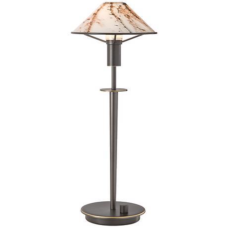 Holtkoetter Old Bronze Brass Marble Glass Desk Lamp