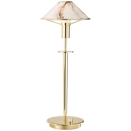 Holtkoetter Polished Brass Marble Glass Desk Lamp