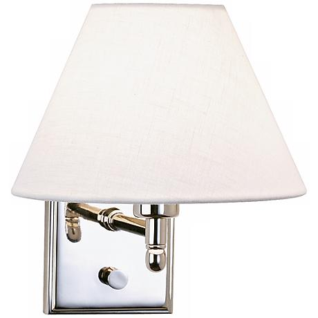 Meilleur Polished Nickel Fixed Linen Shade Plug-In Wall Lamp