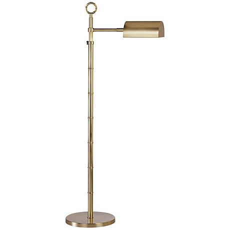 brass finish adjustable pharmacy floor lamp j1673 lamps plus. Black Bedroom Furniture Sets. Home Design Ideas