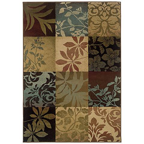 Leaf Collage Squares Area Rug