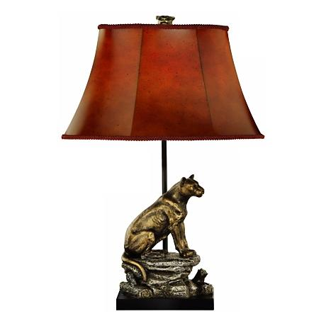 Mountain Lion Hand Painted Table Lamp