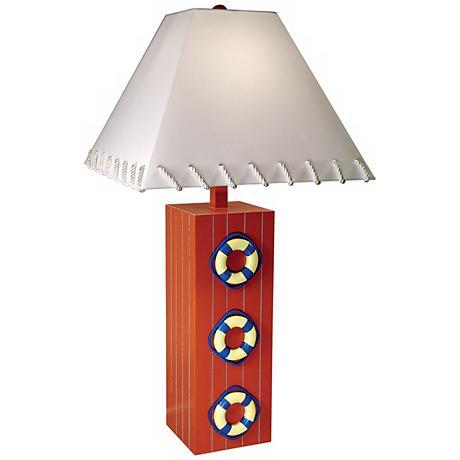 Triple Life Ring Nautical Table Lamp