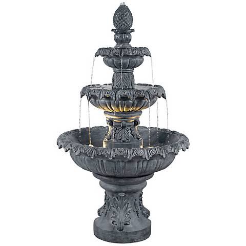 "Kenroy Home 46""H Costa Brava Zinc Finish 3-Tiered Fountain"