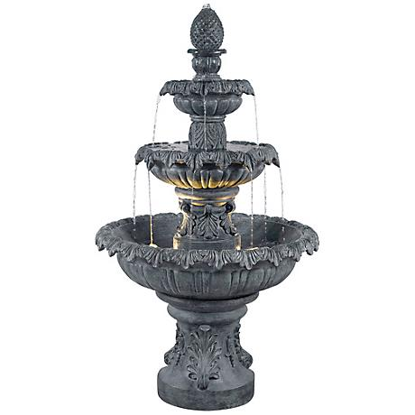 Kenroy Home Costa Brava Zinc Finish 3-Tiered Fountain