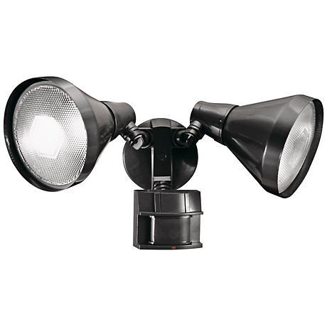 Two-Light Bronze 180-Degree Motion Sensor Security Light