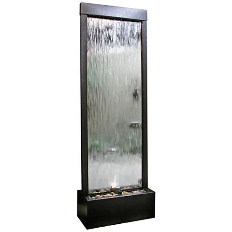 "Modern Mirror 72"" High Panel Fountain with Light"