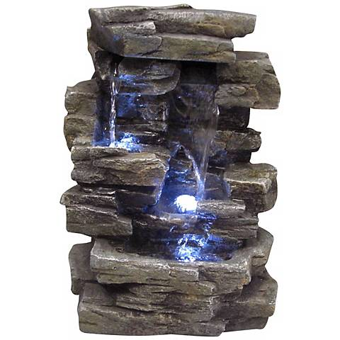 "Faux Slate Stone Waterfall 14"" High Tabletop Fountain"