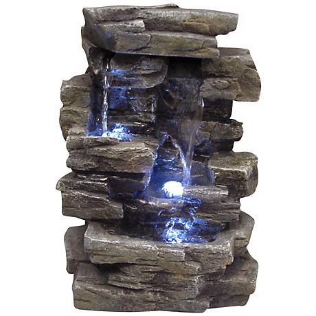"Faux Slate Stone Waterfall 14"" High Tabletop Fountain"