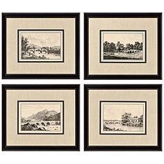 Set of 4 Idyllic Bridges Framed Prints Wall Art