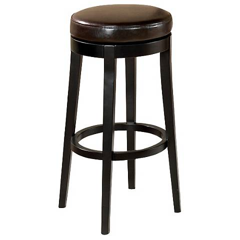"""Dark Brown Faux Leather 26"""" High Swivel Counter Stool"""