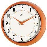 """Retro Orange 9"""" Wide Wall Clock"""
