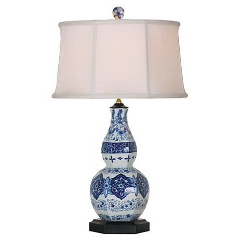 Blue and White Porcelain Hexagonal Gourd Table Lamp