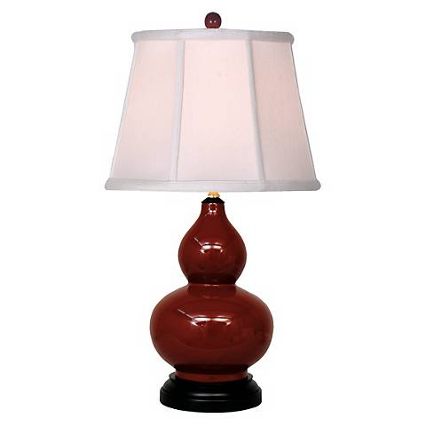 Oxblood Porcelain Gourd Table Lamp