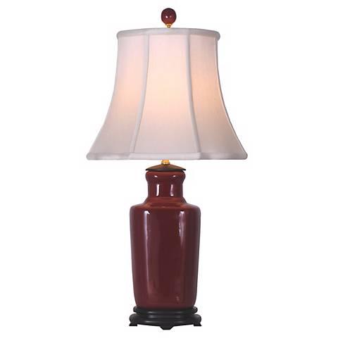 Oxblood Red Porcelain Slim Vase Table Lamp