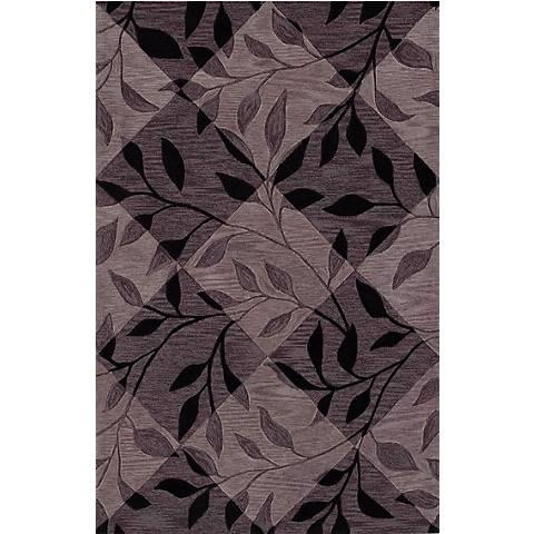 Leaf Texture Black Area Rug