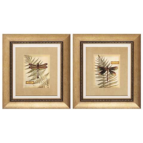 Set of 2 Dragonfly Fern Wall Art
